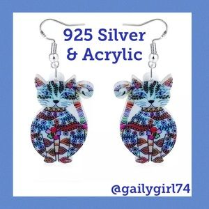 Jewelry - 925 Silver and Acrylic Colorful Cat Earrings